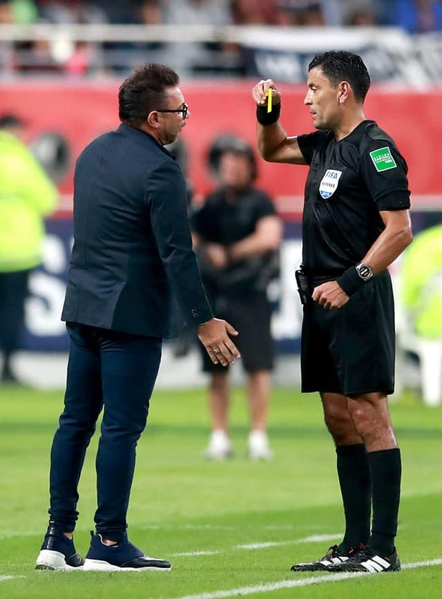 Monterrey manager Antonio Mohamed was booked after complaining that Joe Gomez was not shown a red card (Adam Davy/PA)