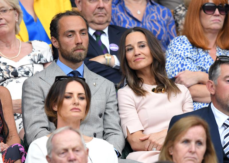LONDON, ENGLAND - JULY 08: James Middleton and Pippa Middleton attend day seven of the Wimbledon Tennis Championships at All England Lawn Tennis and Croquet Club on July 08, 2019 in London, England. (Photo by Karwai Tang/Getty Images)