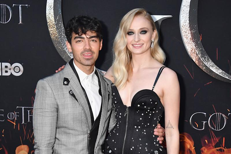Sophie Turner and Joe Jonas pose on the red carpet in New York