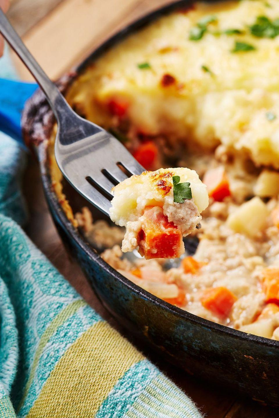 """<p>When the weather outside is frightful, nothing satisfies our craving for comfort food quite like a good <a href=""""https://www.delish.com/uk/cooking/recipes/a30712615/cauli-shepherds-pie-recipe/"""" rel=""""nofollow noopener"""" target=""""_blank"""" data-ylk=""""slk:shepherd's pie"""" class=""""link rapid-noclick-resp"""">shepherd's pie</a>. This turkey version is surprisingly light and SO easy to make. If you'd like to bulk it up with more veggies, frozen corn and/or frozen peas are a great addition! </p><p>Get the <a href=""""https://www.delish.com/uk/cooking/recipes/a32360407/easy-turkey-shepherds-pie-recipe/"""" rel=""""nofollow noopener"""" target=""""_blank"""" data-ylk=""""slk:Turkey Shepherd's Pie"""" class=""""link rapid-noclick-resp"""">Turkey Shepherd's Pie</a> recipe.</p>"""