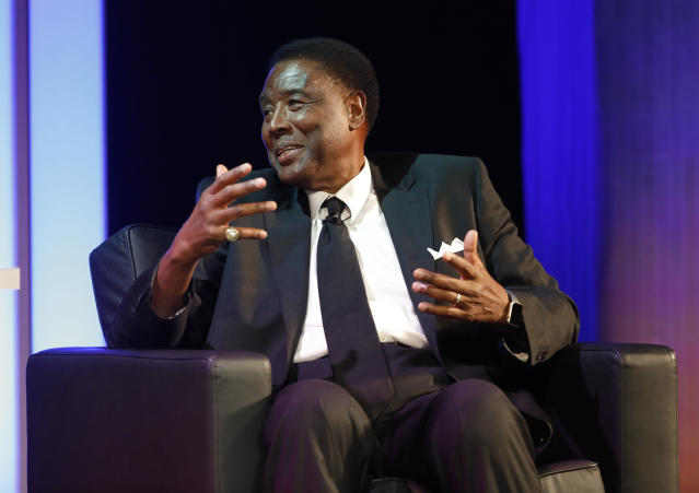 Former Creighton University player, Paul Silas, talks about his career during a National Collegiate Basketball Hall of Fame induction event, Sunday, Nov. 19, 2017, in Kansas City, Mo. (AP Photo/Colin E. Braley)