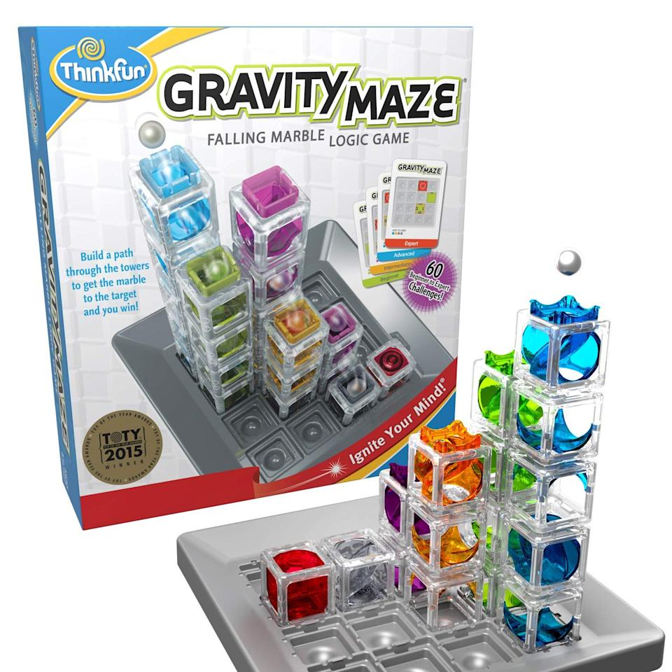 """<p>The <a href=""""https://www.popsugar.com/buy/ThinkFun-Gravity-Maze-Marble-Run-Logic-Game-STEM-Toy-502330?p_name=ThinkFun%20Gravity%20Maze%20Marble%20Run%20Logic%20Game%20and%20STEM%20Toy&retailer=amazon.com&pid=502330&evar1=moms%3Aus&evar9=44605228&evar98=https%3A%2F%2Fwww.popsugar.com%2Fphoto-gallery%2F44605228%2Fimage%2F46767956%2FThinkFun-Gravity-Maze-Marble-Run-Logic-Game-STEM-Toy&list1=shopping%2Cgift%20guide%2Ckids%2Ckid%20activities%2Cgifts%20for%20kids%2Clittle%20kids&prop13=api&pdata=1"""" rel=""""nofollow"""" data-shoppable-link=""""1"""" target=""""_blank"""" class=""""ga-track"""" data-ga-category=""""Related"""" data-ga-label=""""https://www.amazon.com/ThinkFun-Gravity-Marble-Logic-Girls/dp/B00IUAAK2A?ref_=ast_bbp_dp"""" data-ga-action=""""In-Line Links"""">ThinkFun Gravity Maze Marble Run Logic Game and STEM Toy </a>($230) contains 60 challenges, some multi-level.</p>"""