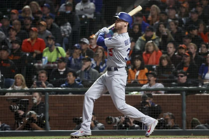San Francisco, CA - October 09: Los Angeles Dodgers' Cody Bellinger follows through on a swing.