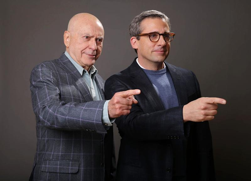 """In this Monday, March 11, 2013 photo, Alan Arkin, left, and Steve Carell pose for a portrait for the film, """"The Incredible Burt Wonderstone,"""" at the Hotel Amarano, in Los Angeles.  The two actors lit up an empty suite at a hotel down the street from Warner Bros. studios with their warm rapport, reminiscing about working together on """"Wonderstone"""" and their past projects, """"Get Smart"""" and """"Little Miss Sunshine"""" (for which Arkin won the supporting actor Oscar).  (Photo by Eric Charbonneau/Invision/AP)"""