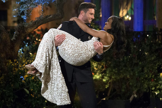 <p>Bryce and Rachel Lindsay on ABC's <i>The Bachelorette</i>. <br>(Photo: Paul Hebert/ABC) </p>