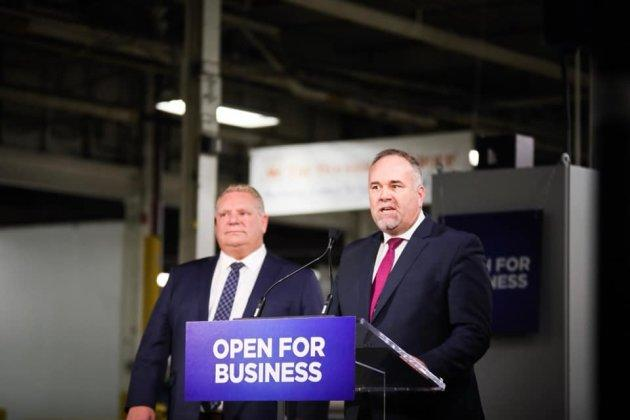 Ontario Premier Doug Ford and Minister of Economic Development Todd Smith make an announcement in February 2019. Smith introduced Bill 66 on Dec. 6, 2018.