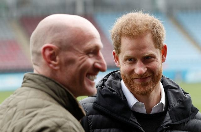 Former Wales rugby captain Gareth Thomas with the Duke of Sussex