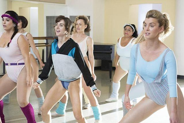 Alison Brie as Ruth, center, and Betty Gilpin as Debbie in Netflix's <i>GLOW.</i> (Photo: Erica Parise/Netflix)