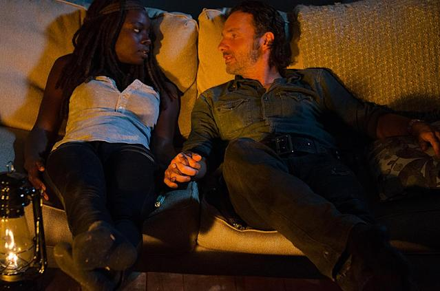 <p>The show hasn't had too many romantic pairings, but in the comics, the characters hooked up all the time. The couplings were also different: Rick and Andrea, Tyreese and Carol, Tyreese and Michonne, Michonne and Morgan, Andrea and Dale. Richonne hasn't happened (yet). At least OTP Glenn and Maggie were together in both the show and comics.<br><br>(Photo Credit: Gene Page/AMC) </p>