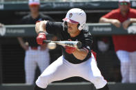 North Carolina State batter Austin Murr (12) lays down a bunt against Arkansas in the third inning of an NCAA college baseball super regional game Saturday, June 12, 2021, in Fayetteville, Ark. (AP Photo/Michael Woods)