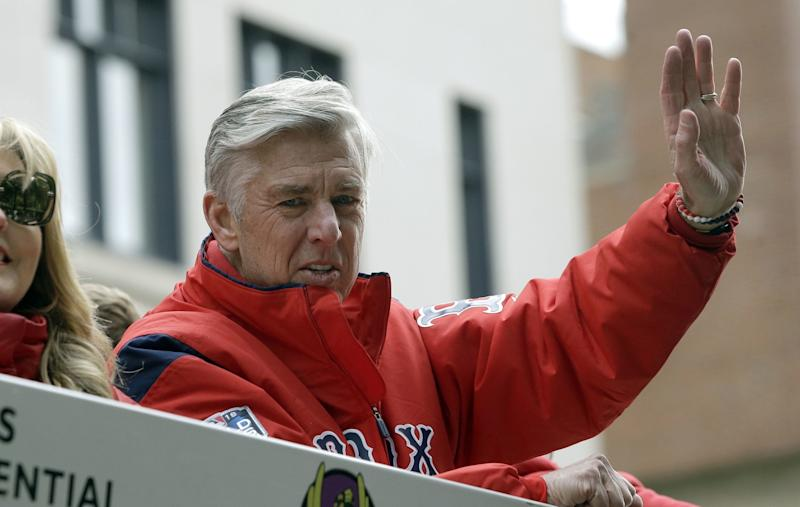 Boston Red Sox president of baseball operations Dave Dombrowski waves during the 2018 World Series parade