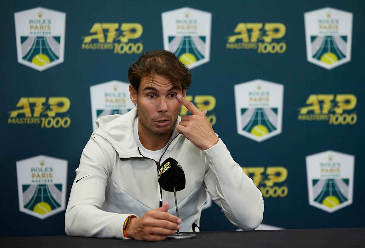Nadal speaks at a press conference after withdrawing injured from his men's semifinal match against Denis Shapovalov at the Rolex Paris Masters on Nov. 2 in Paris. (Photo: Quality Sport Images via Getty Images)