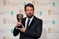 US actor and director Ben Affleck poses with Best Director award for his film Argo during the annual BAFTA British Academy Film Awards at the Royal Opera House in London on February 10, 2013