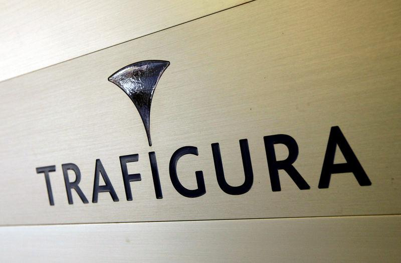 Trafigura logo is pictured in the company entrance in Geneva