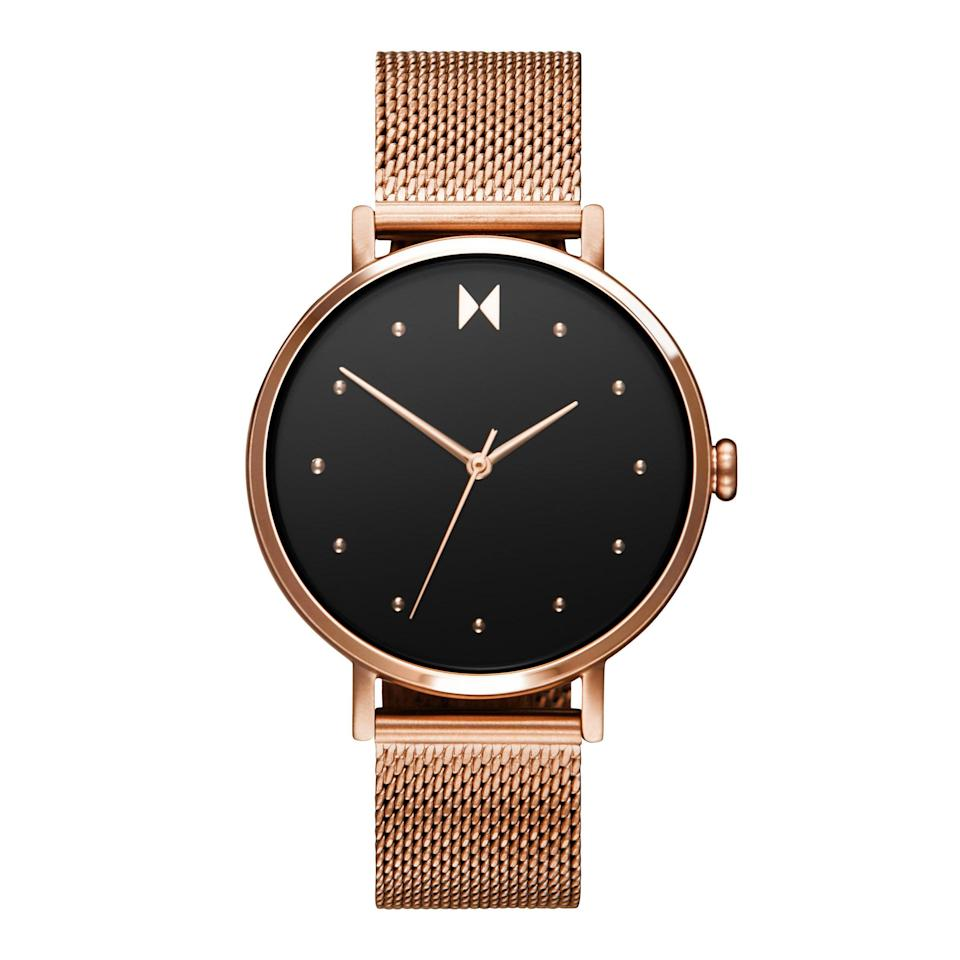 """We can't get over the eye-catching watch face on this timepiece. The rose gold dotted index is simple yet totally legible. $115, Nordstrom. <a href=""""https://www.nordstrom.com/s/mvmt-dot-mesh-strap-watch-36mm/5476216"""" rel=""""nofollow noopener"""" target=""""_blank"""" data-ylk=""""slk:Get it now!"""" class=""""link rapid-noclick-resp"""">Get it now!</a>"""