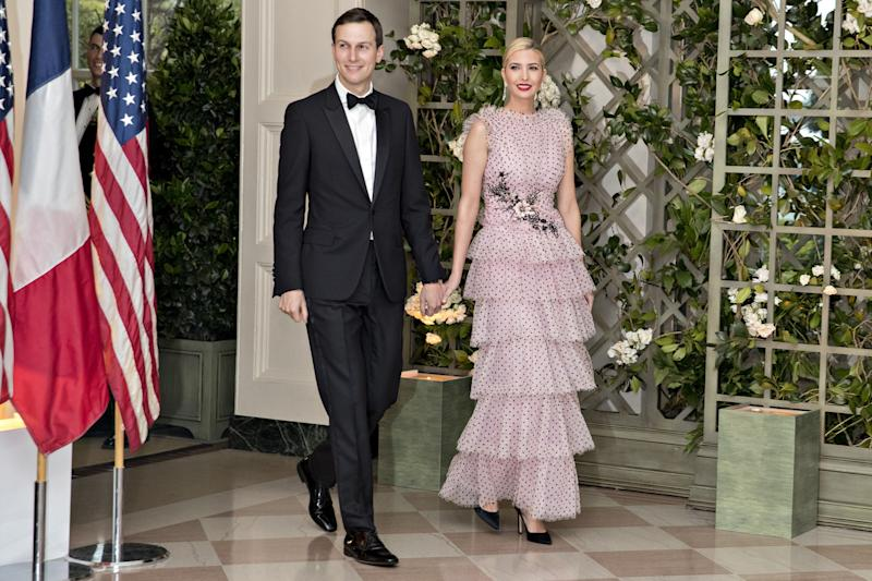 Ivanka Trump, assistant to U.S. President Donald Trump, right, and Jared Kushner, senior White House adviser, arrive for a state dinner in honor of French President Emmanuel Macron at the White House in April 2018 [Photo: Getty]