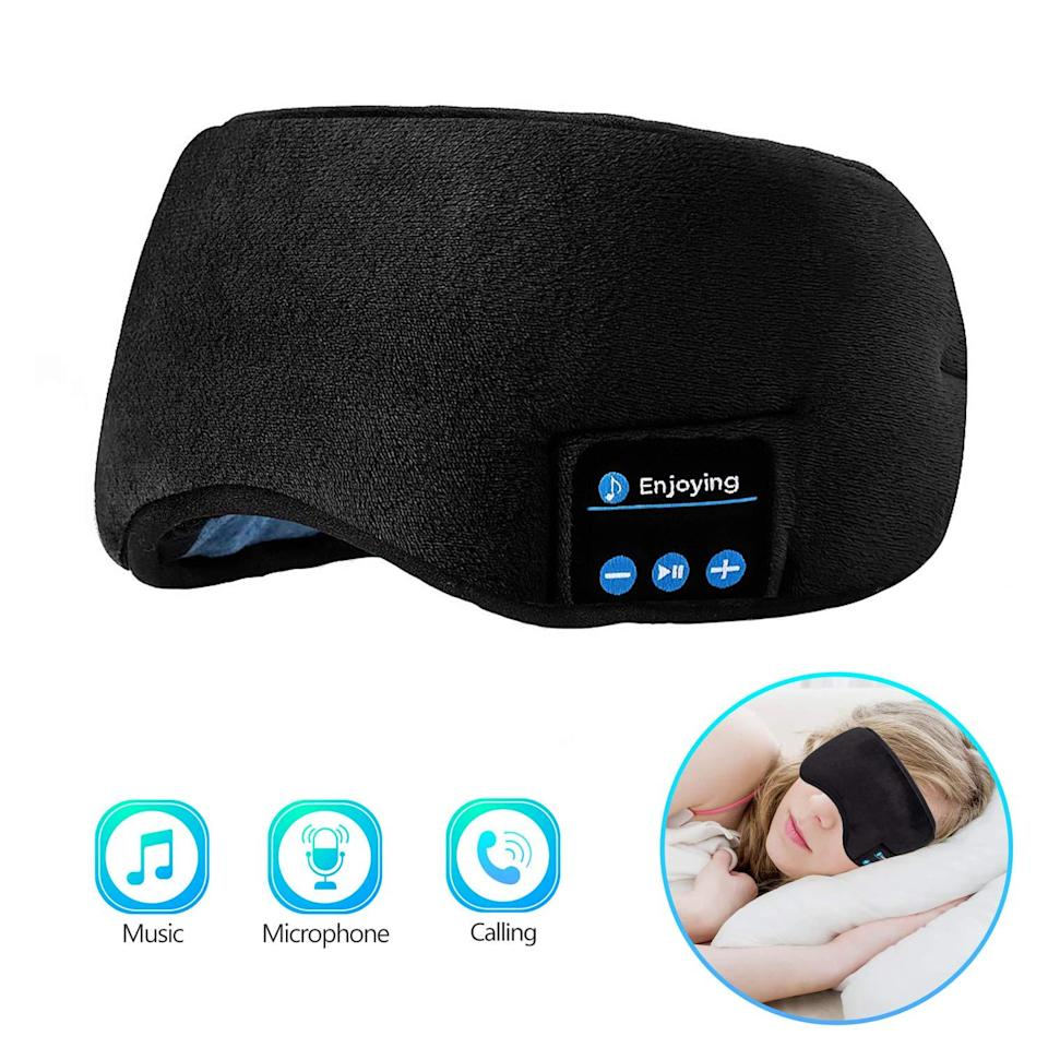"<h3><h2>Joseche Sleep Headphones Bluetooth Eye Mask</h2></h3><br>This Amazon top-seller is as high tech as sleeping masks go. It's Bluetooth compatible for wireless syncing (and taking phone calls...), in addition to blocking out light and unwanted background noise. <br><br><em>Shop</em> <strong><em><a href=""https://amzn.to/3f0Fm0P"" rel=""nofollow noopener"" target=""_blank"" data-ylk=""slk:Joseche"" class=""link rapid-noclick-resp"">Joseche</a></em></strong><br><br><strong>Joseche</strong> Sleep Headphones Bluetooth Eye Mask, $, available at <a href=""https://amzn.to/2VmSMcR"" rel=""nofollow noopener"" target=""_blank"" data-ylk=""slk:Amazon"" class=""link rapid-noclick-resp"">Amazon</a>"