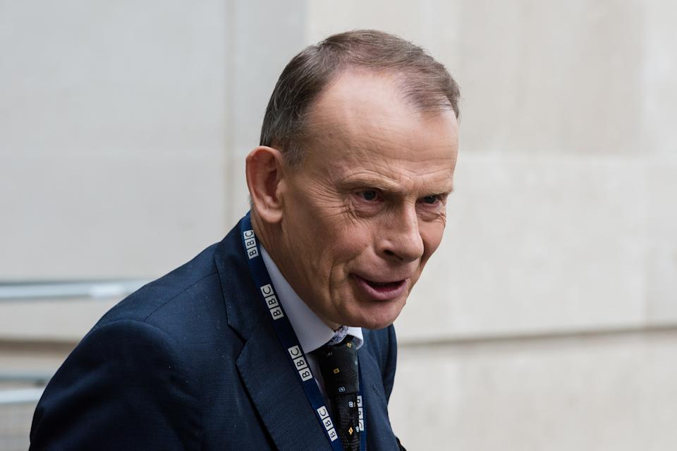 Andrew Marr leaves the BBC Broadcasting House in central London after presenting The Andrew Marr Show on 18 October, 2020 in London, England. (Photo by WIktor Szymanowicz/NurPhoto via Getty Images)
