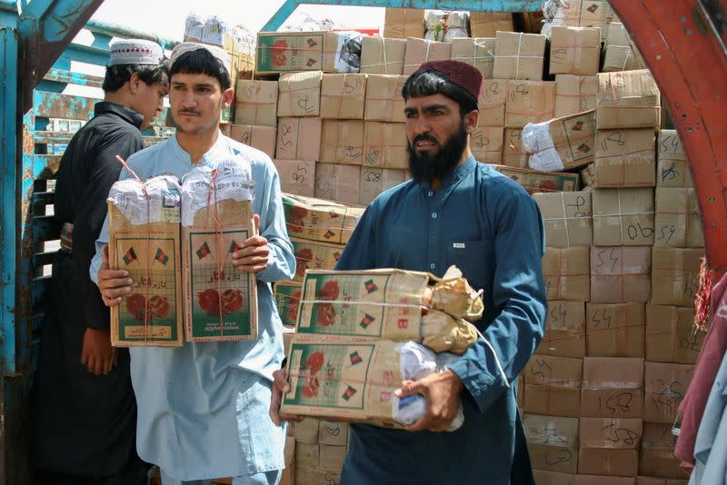 FILE PHOTO: Labourers unload boxes of pomegranates from Afghanistan, from a truck at the 'Friendship Gate' crossing point, in the Pakistan-Afghanistan border town of Chaman