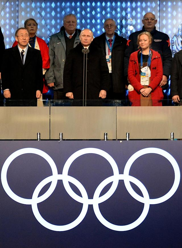 SOCHI, RUSSIA - FEBRUARY 07: Russian President Vladimir Putin declares the games open during the opening ceremony of the Sochi 2014 Winter Olympics at the Fisht Olympic Stadium on February 7, 2014, in Sochi, Russia. (Photo by Jung Yeon-Je - Pool/Getty Images)