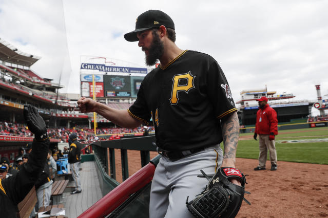 Pittsburgh Pirates starting pitcher Trevor Williams celebrates after striking out Cincinnati Reds' Yasiel Puig and closing the sixth inning of a baseball game, Sunday, March 31, 2019, in Cincinnati. (AP Photo/John Minchillo)