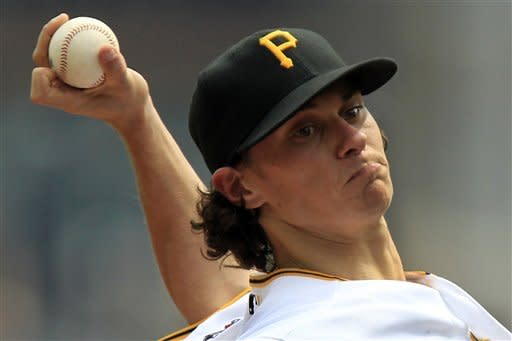 Pittsburgh Pirates pitcher Jeff Locke (49)delivers during the second inning against the Houston Astros in a baseball game in Pittsburgh Monday, Sept. 3, 2012. (AP Photo/Gene J. Puskar)