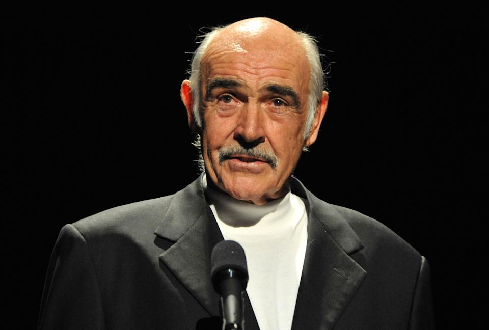 HOLLYWOOD - OCTOBER 01:  Actor Sean Connery speaks during AFI's Night At The Movies presented by Target held at ArcLight Cinemas on October 1, 2008 in Hollywood, California.  (Photo by Frazer Harrison/Getty Images for AFI)