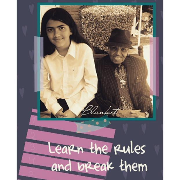 Joe Jackson and grandson Bigi in a collage with the words 'Learn the Rules and break them'