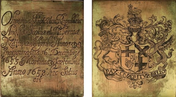 One side of the copper plate bears the arms of the Lord Protector of the Commonwealth of England, Scotland and Ireland, and the reverse has an inscription in Latin with the dates of Cromwell's birth, inauguration as Lord Protector, and death (c
