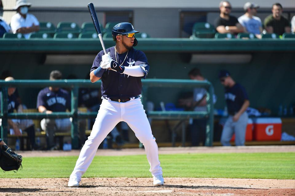 Isaac Paredes of the Detroit Tigers awaits a pitch in the fourth inning against the New York Yankees during a spring training game on March 12, 2021, at Joker Marchant Stadium in Lakeland, Florida.