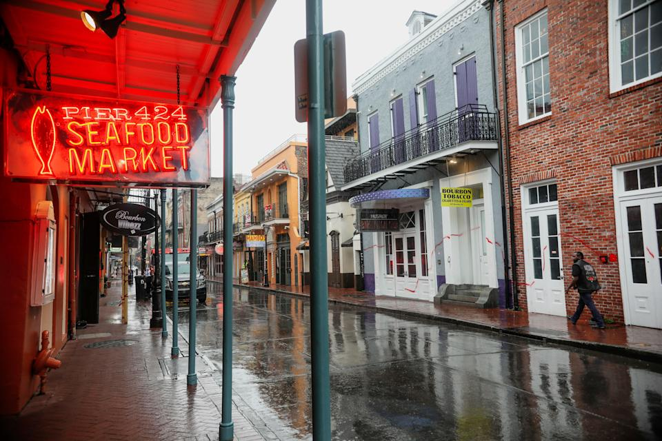 The French Quarter of New Orleans, site of Friday's shooting, is pictured on Wednesday as Hurricane Zeta hit (Getty Images)