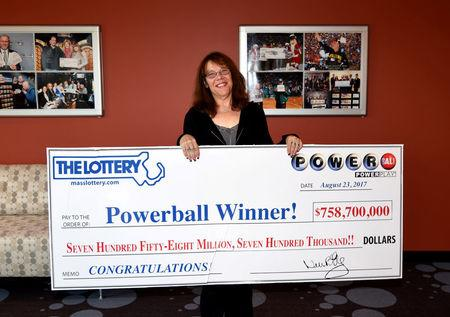 Mavis Wanczyk of Chicopee, Massachusetts, the winner of the $758.7 million Powerball jackpot is pictured in Braintree, Massachusetts, U.S. in this August 24, 2017 handout photo.  Massachusetts State Lottery/Handout via REUTERS      ATTENTION EDITORS - THIS IMAGE WAS PROVIDED BY A THIRD PARTY.