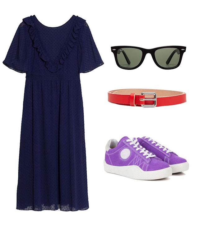 "<p>Choose a navy maxi dress like Heilbrunner's and accessorize with black Wayfarers and a bold colored belt — a Chanel version like the one she's wearing isn't exactly budget friendly. That said, you can actually get Heilbrunner's exact Eytys sneakers on sale for 60% off on <a href=""https://www.mytheresa.com/en-us/eytys-wave-suede-sneakers-771280.html?utm_source=affiliate&utm_medium=polyvore.us#designer#"" rel=""nofollow noopener"" target=""_blank"" data-ylk=""slk:mytheresa.com"" class=""link rapid-noclick-resp"">mytheresa.com</a>. </p>"