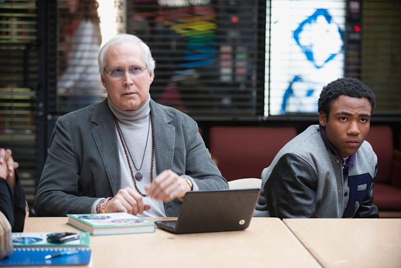 Chevy Chase as Pierce (left) and Donald Glover as Troy inCommunity   Lewis Jacobs