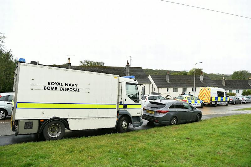 A Royal Navy bomb disposal unit raided the home where the bomb was found (Picture: SWNS)