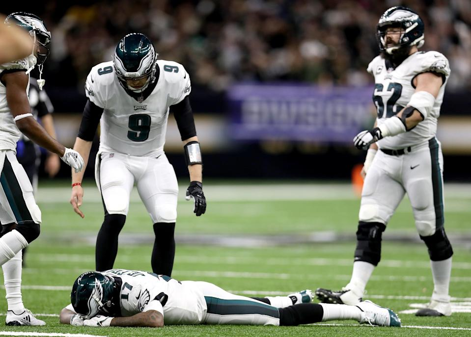 Alshon Jeffery was overcome with emotion after letting Nick Foles' pass sail through his hands resulting in a late fourth-quarter interception. (Getty Images)