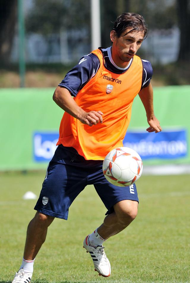 "Lorient's Portuguese defender Miguel Da Silva Rocha ""Pedrinho"" is seen in action during a training session on August 7, 2012 at the Moustoir Stadium in Lorient, western France, prior the French Championship League 1 football matches beginning on August 10, 2012. AFP PHOTO FRANK PERRYFRANK PERRY/AFP/GettyImages"