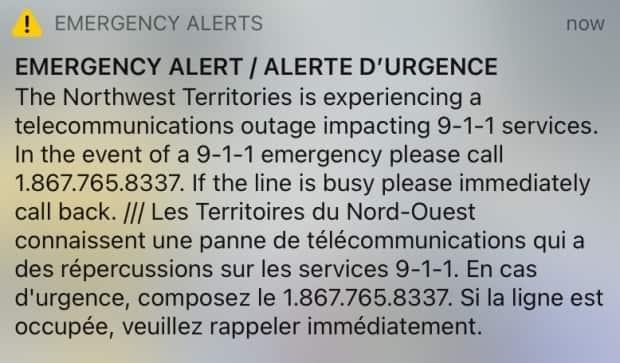 Northwest Territories emergency services sent out an alert Wednesday evening to inform residents that 911 services are down. Instead people should call 867-765-8337. (CBC - image credit)