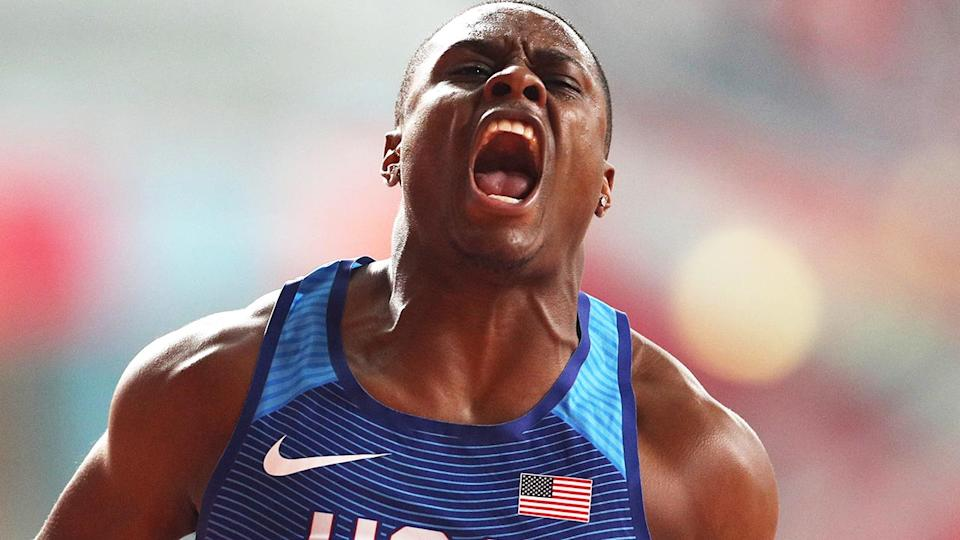 World 100-metres champion Christian Coleman celebrating after a race.