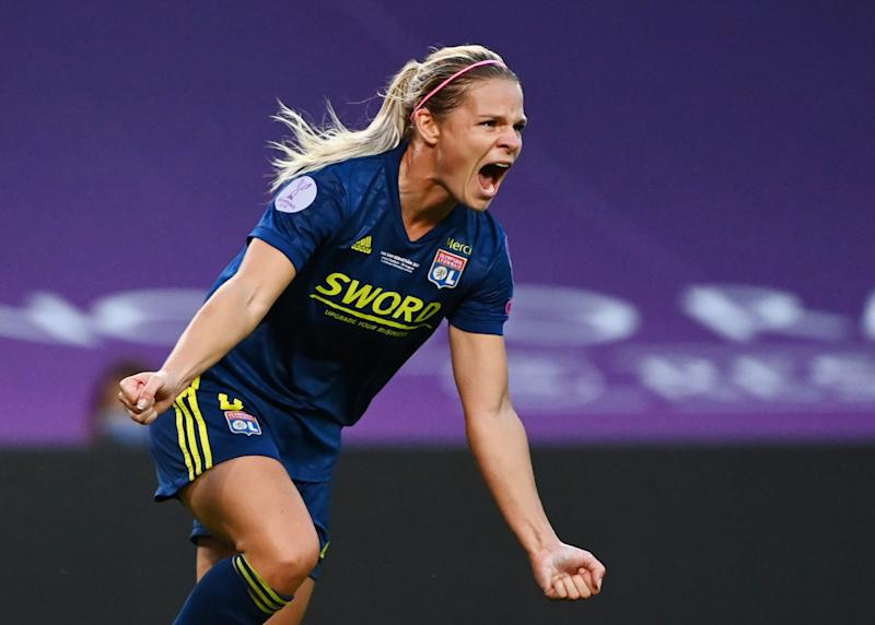 Lyon's Eugénie Le Sommer celebrates scoring her team's first goal in Sunday's UEFA Women's Champions League final win over Wolfsburg. (Reuters/Gabriel Bouys)