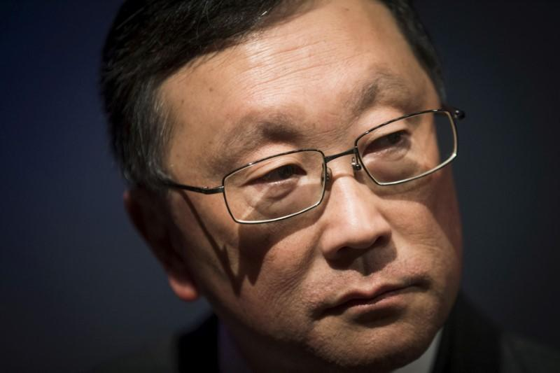 FILE PHOTO: Blackberry CEO Chen speaks to reporters following their annual general meeting for shareholders in Waterloo