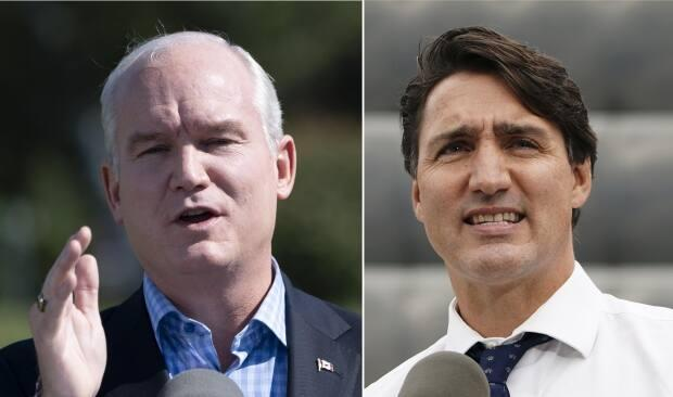 Conservative Leader Erin O'Toole and Liberal Leader Justin Trudeau kicked off the final week of the federal election campaign on Monday with appearances in Ontario and British Columbia.  (Adrian Wyld/Sean Kilpatrick/The Canadian Press - image credit)