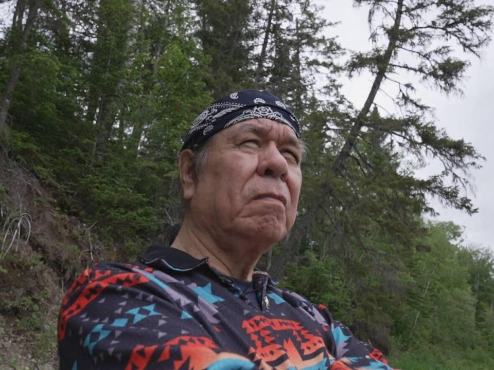 Elder George Paul, seen near his home in Metepenagiag, wrote Honour Song decades ago. It went on to become an anthem for his people, and continues to reach new audiences with reimagined versions. (Mike Heenan/CBC - image credit)