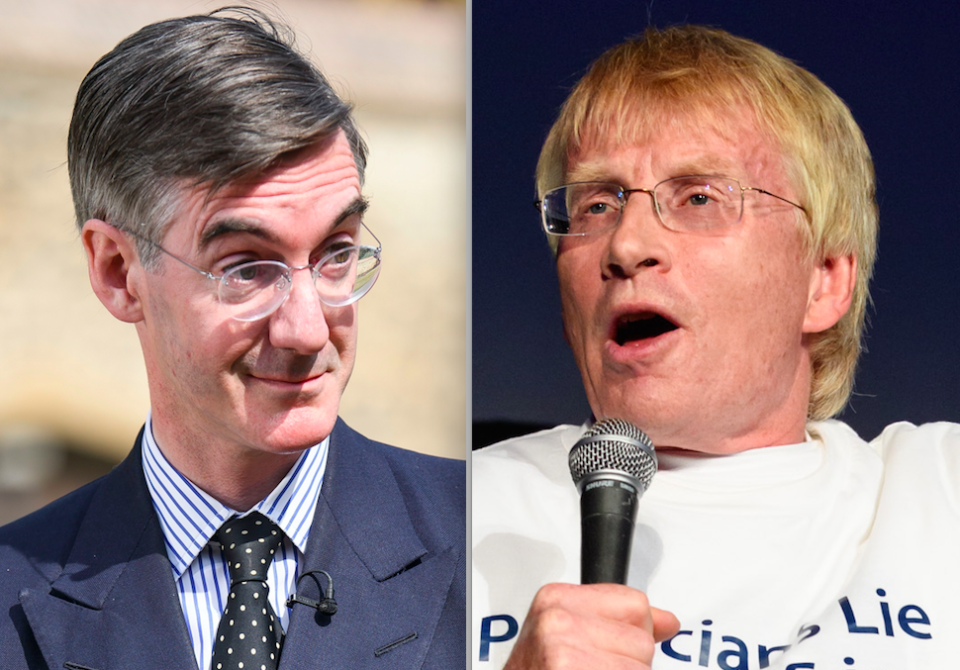 <em>Dr Phil Hammond (right) was sacked by the BBC after he revealed plans to unseat Jacob Rees-Mogg (left) at the next election (Rex)</em>