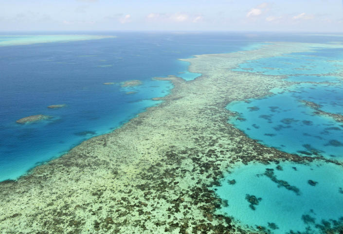"""FILE - In this Dec. 2, 2017, file photo shows the Great Barrier Reef in Australia. The Chinese host of this year's meeting of the U.N, World Heritage Committee defended on Sunday, July 18, 2021, the body's proposal to label the Great Barrier Reef as """"in danger"""" against Australian government suspicion that China influenced the finding for political reasons.(Kyodo News via AP, File)"""