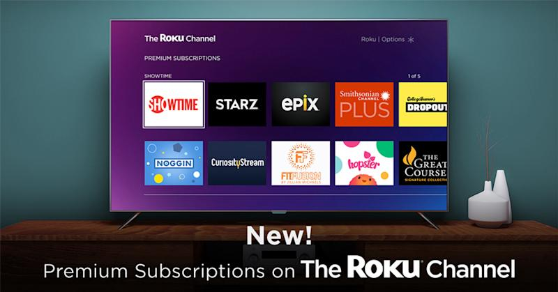 The Roku Channel showing premium channels available.