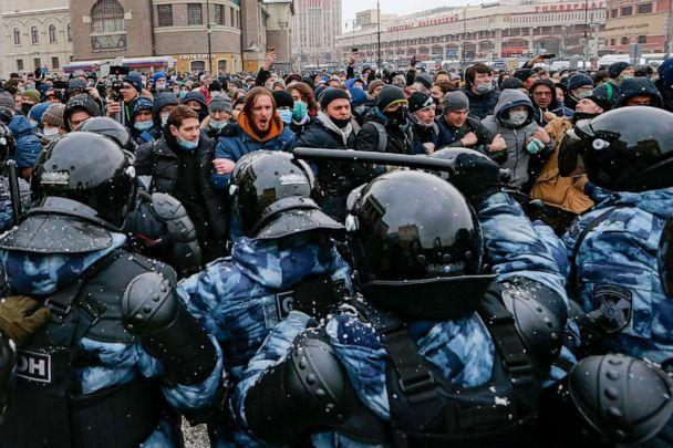 PHOTO: People clash with police during a protest against the jailing of opposition leader Alexei Navalny in Moscow, Jan. 31, 2021. (Alexander Zemlianichenko/AP)