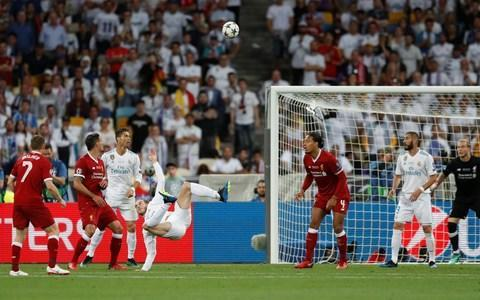 <span>Bale connects and the ball heads goalwards</span> <span>Credit: REUTERS </span>