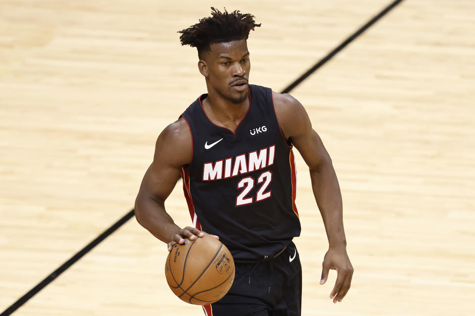 Jimmy Butler will reportedly sign a maximum contract extension with the Miami Heat. (Michael Reaves/Getty Images)