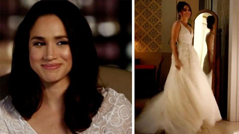 Meghan is seen in a wedding dress again in a new promo on Universal. Photo: Universal